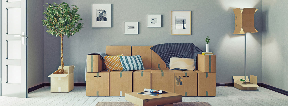 Room furniture made out of boxes