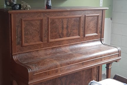2 x Richard Lipp full size upright with cast iron frame piano