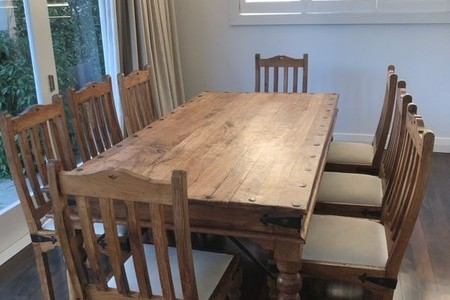 Rustic dining table and 8 chairs