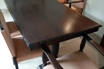 Dining table and 6 chairs, Side board, 6 chairs