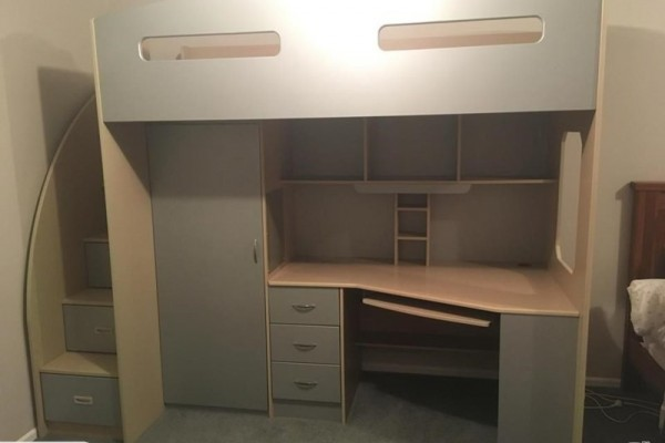 Loft bed with desk and cupboard