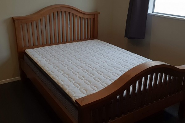 Queen Wood Slat Bed & Mattress