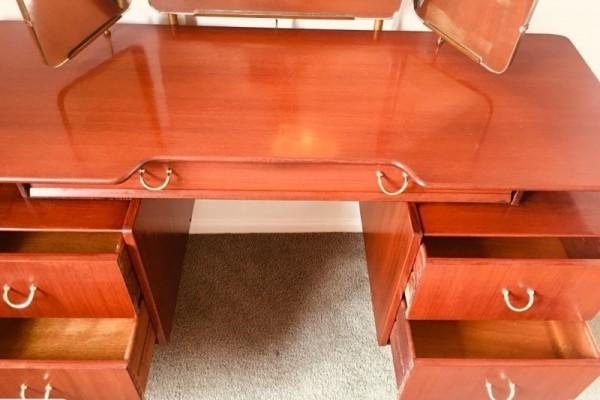 Mid century g-plan dresser/desk/drawers with 3 mirrors